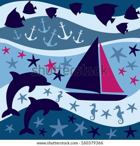 Nautical background.  Underwater wildlife. - stock vector