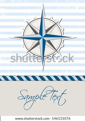 Nautical background with compass, marine card - stock vector