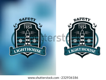 Nautical banner with lighthouse, anchors, ropes, ribbon and steering wheel - stock vector