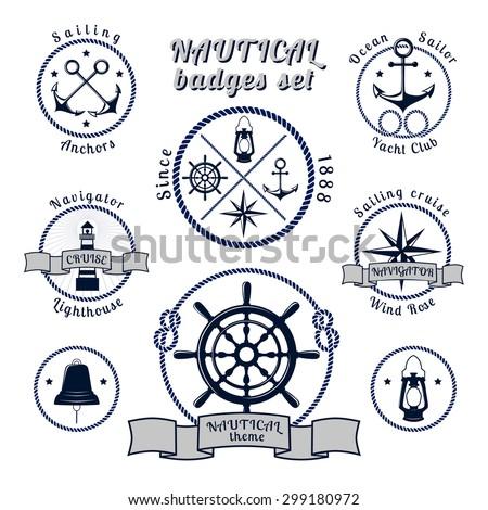 Nautical blue round vintage badges set on white background vector illustration - stock vector