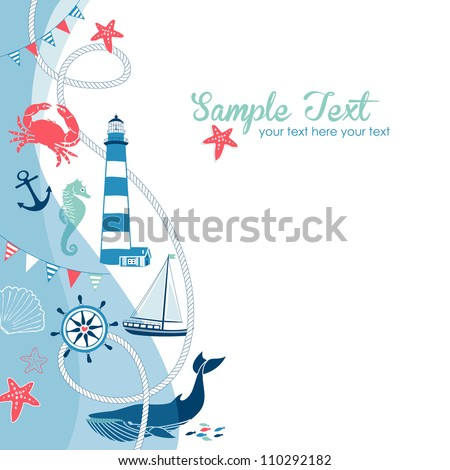 Nautical border with space for your text - stock vector