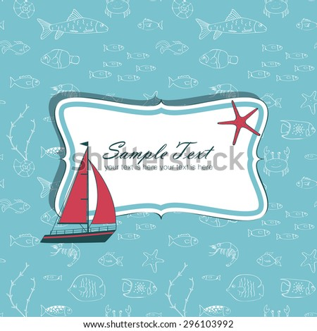 Nautical card with sailing boat - stock vector