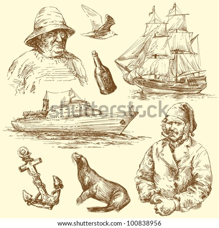 nautical collection - stock vector