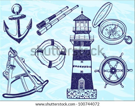 Nautical collection - hand-drawn illustration of lighthouse, life buoy, telescope, sextant, anchor, helm, compass - stock vector