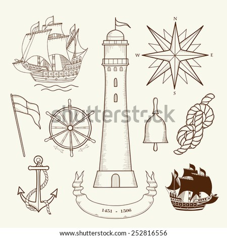 Nautical Design Elements - l set of hand drawn nautical design elements resembling medieval maritime maps