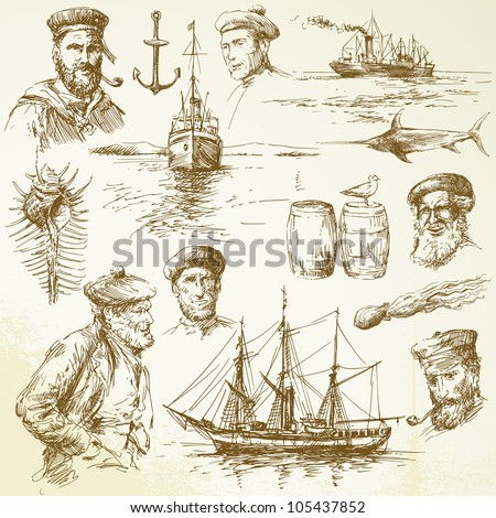 nautical elements - hand drawn collection - stock vector
