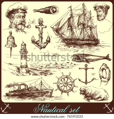 nautical elements-hand drawn collection - stock vector