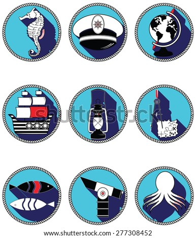 Nautical elements III icons in knotted circle including seahorse, octopus, captains hat,  ship, drawing compass, treasure map, nautical style lamp, fish, globe, beach telescope  - stock vector