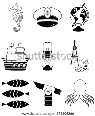 Nautical elements 2 including   seahorse, octopus, captains hat,  ship, drawing compass, treasure map, nautical style lamp, fish, globe, beach telescope - stock vector