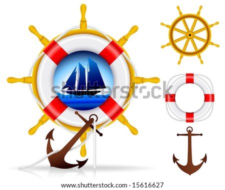 Nautical Elements - VECTOR. Summer design elements. (only gradient used, No transparency) - stock vector