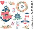 Nautical Flora Wedding Elements - stock vector