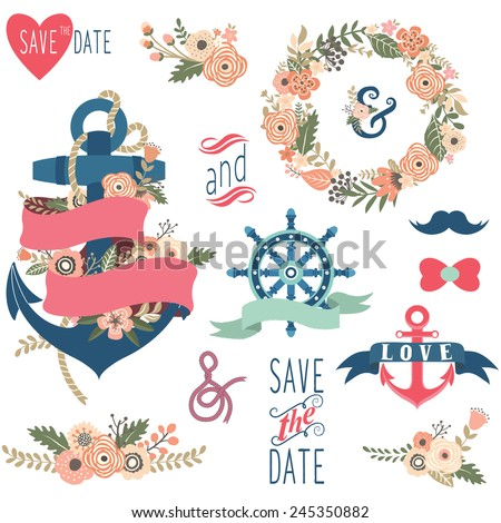 Nautical Flora Wedding Elements - stock vector