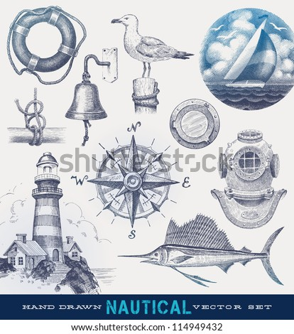 Nautical hand drawn vector set - stock vector