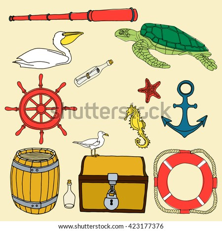 Nautical hand drawn vector set. Hand drawn sea sketch doodle set. Ocean cartoon animals and objects. Yellow seahorse.  Anchor. Bottle of rum. Pelican. Barrel. Starfish. Chest lock. Gull. Telescope. - stock vector