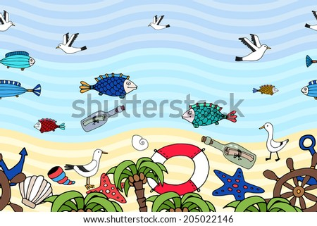 Nautical horizontal seamless pattern on a tropical beach with fish swimming in the ocean  a bottle with a message  seagulls  shells  an anchor  and life ring on the sand and green palm fronds on shore - stock vector