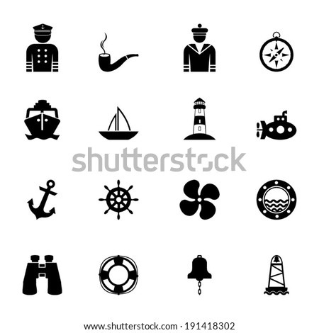 Nautical icon collection - stock vector