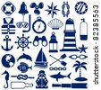 nautical icons - stock vector