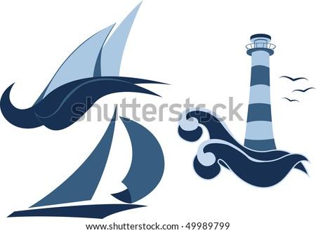 Nautical icons - stock vector