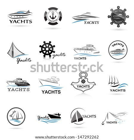 Nautical icons Set - Isolated On White Background - Vector Illustration, Graphic Design Editable For Your Design. Nautical Logo - stock vector