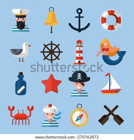 Nautical icons set with sailor anchor lifebelt star fish isolated vector illustration - stock vector