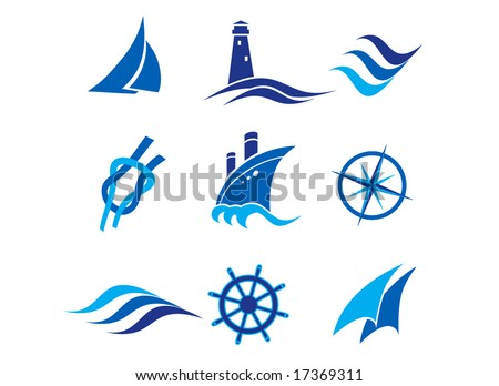 Nautical logos and icons - stock vector