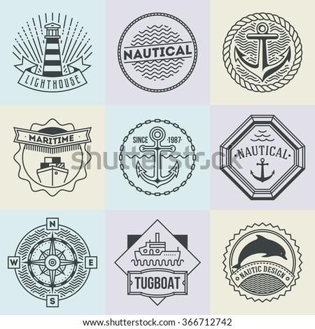 Nautical Logotypes Set. Thin Line Art Vector Vintage Style Elements. Elegant Geometric Design. - stock vector