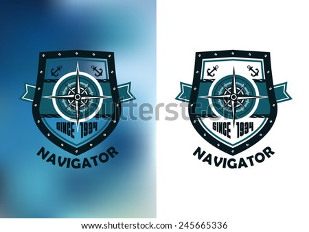 Nautical Navigator label or emblem with compass, anchors, rope and founding date on heraldic shield in retro style on white and blue mottled background  - stock vector