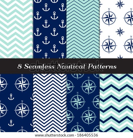 Nautical Navy Blue, Aqua and White Chevron, Anchors and Compasses Seamless Patterns. Navy and Aqua Nautical Backgrounds N1. Pattern Swatches made with Global Colors. - stock vector