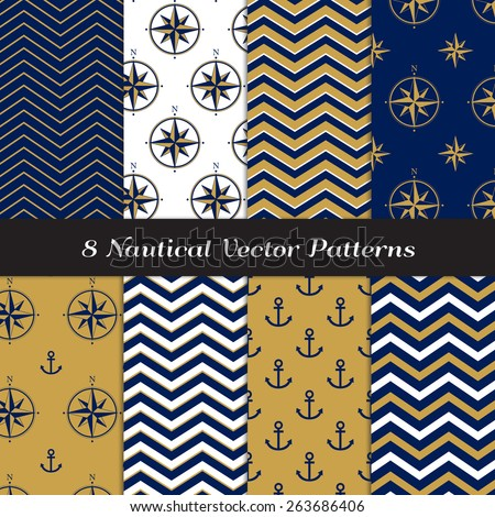 Nautical Navy Blue, Gold and White Chevron, Anchors and Compasses Patterns. Navy Gold Nautical Backgrounds V2. Vector EPS File Pattern Swatches made with Global Colors. - stock vector