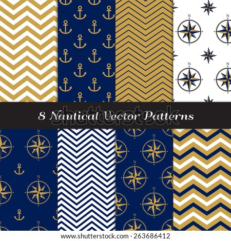 Nautical Navy Blue, Gold and White Chevron, Anchors and Compasses Patterns. Navy Gold Nautical Backgrounds V1. Vector EPS File Pattern Swatches made with Global Colors. - stock vector