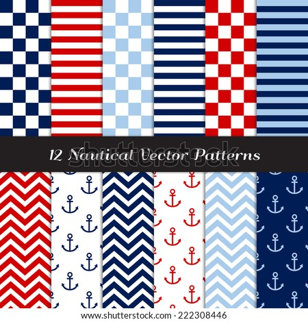 Nautical Navy, Blue, Red and White Checks, Stripes, Chevron and Anchors Patterns. Vector Pattern Swatches made with Global Colors. - stock vector