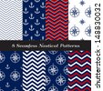 Nautical Navy Blue, Red and White Chevron and Anchors and Compasses Patterns. Patriotic Nautical Backgrounds. Pattern Swatches made with Global Colors. - stock