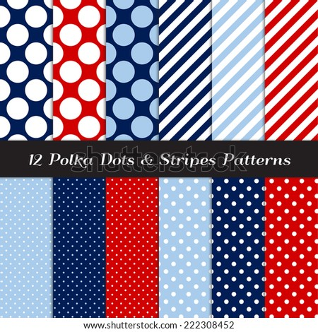 Nautical Navy, Blue, Red and White Polka Dots and Candy Stripes Patterns. Vector Pattern Swatches made with Global Colors. - stock vector