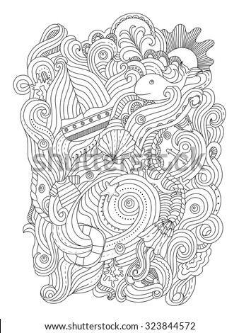 Naticka 39 s portfolio on shutterstock for Adult coloring pages nautical
