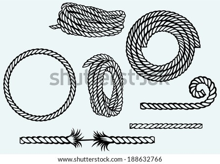 Nautical rope knots. Isolated on blue background - stock vector
