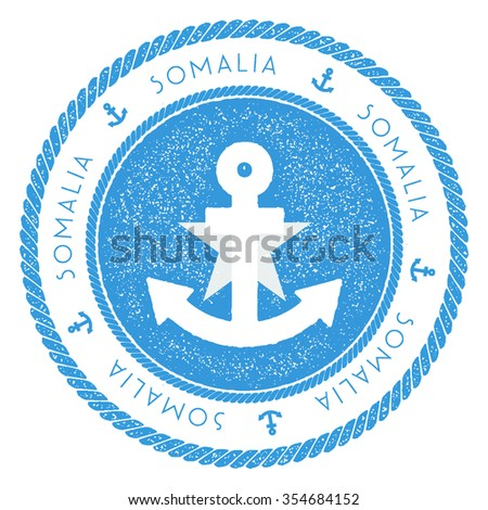Nautical Rubber Stamp with Somalia Flag and Anchor. Marine rubber stamp, with round rope border and anchor symbol on flag background. Vector illustration - stock vector