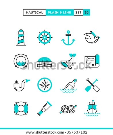 Nautical, sailing, sea animals, marine and more. Plain and line icons set, flat design, vector illustration - stock vector