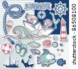 nautical scrapbook set - stock vector