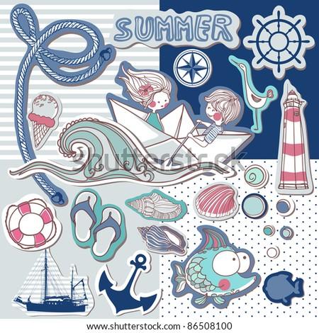 nautical scrapbook set - stock vector