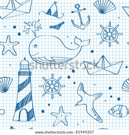 Nautical seamless doodles