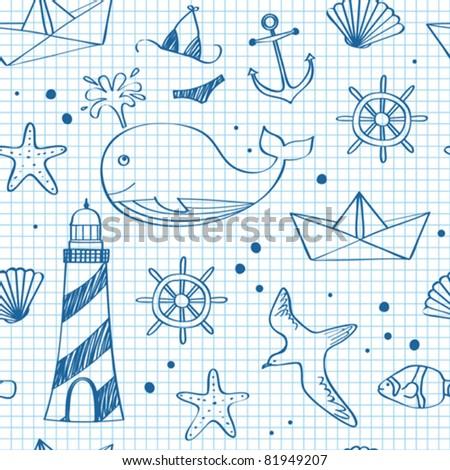 Nautical seamless doodles - stock vector