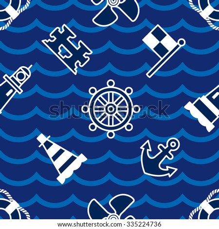 Nautical seamless pattern - stock vector