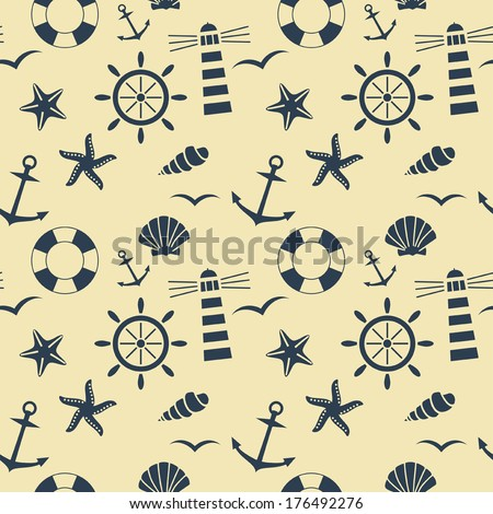 nautical seamless pattern vector background - stock vector