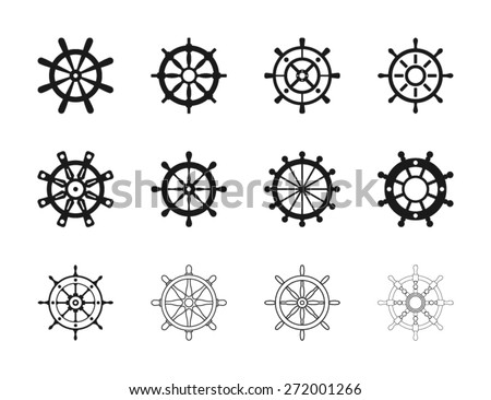 Nautical Ship Wheel Icons - stock vector