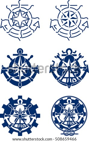Nautical symbols combined from minimalistic to overkill