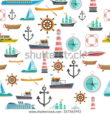 Nautical symbols vintage icons seamless tileable pattern with beacon anchor compass and sailboats abstract isolated vector illustration - stock vector