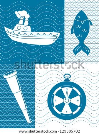 Nautical theme illustration - stock vector