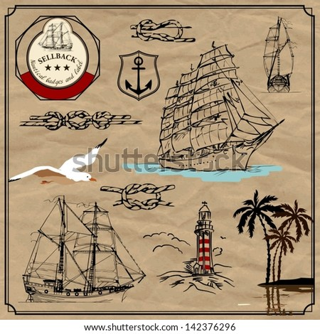 Nautical useful design elements. Vector set. Plus the old paper background - stock vector