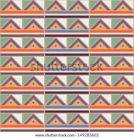Navajo tribal triangle aztec pattern on vintage colors - stock vector