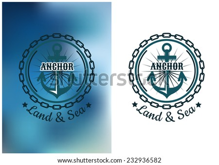 Naval heraldic badge with anchor and round chain, text Land and Sea below. For nautical design - stock vector